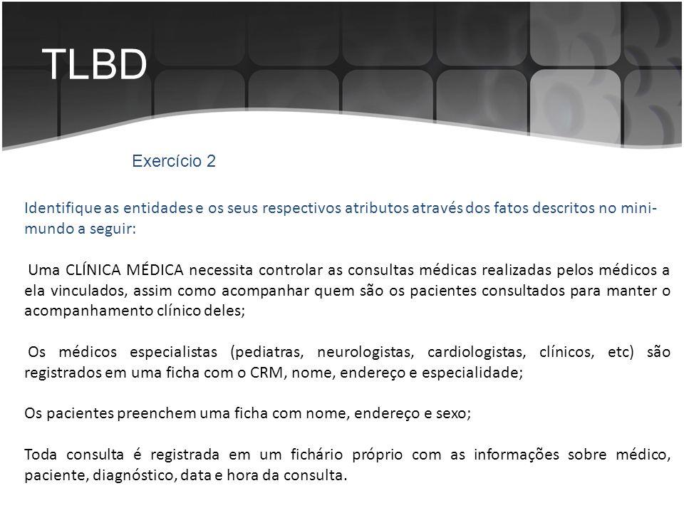 TLBD Exercício 2. Identifique as entidades e os seus respectivos atributos através dos fatos descritos no mini-mundo a seguir: