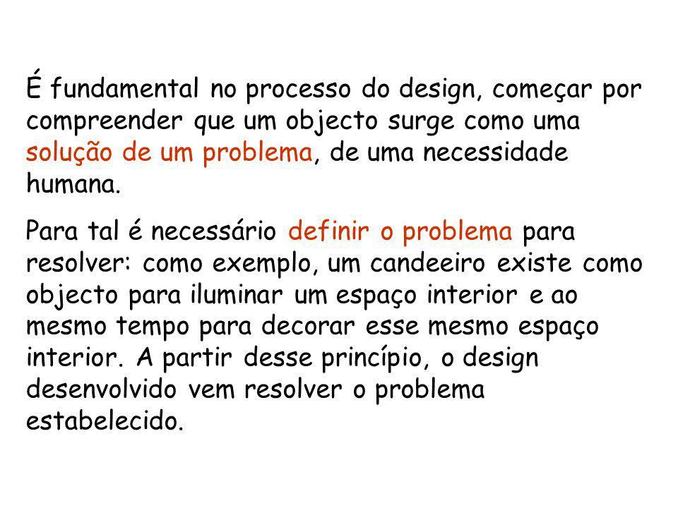 É fundamental no processo do design, começar por compreender que um objecto surge como uma solução de um problema, de uma necessidade humana.