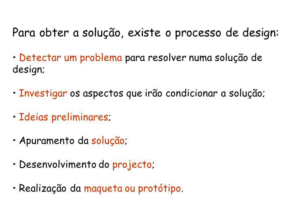 Para obter a solução, existe o processo de design:
