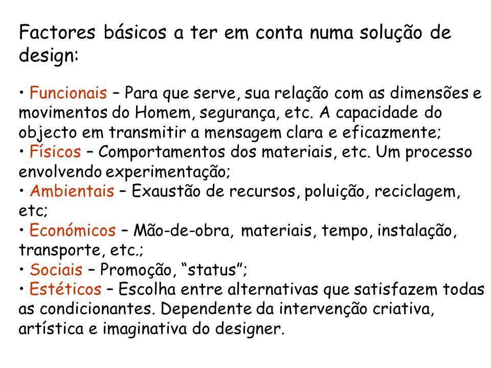 Factores básicos a ter em conta numa solução de design: