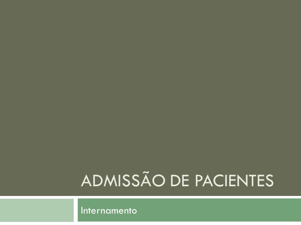 Admissão de pacientes Internamento