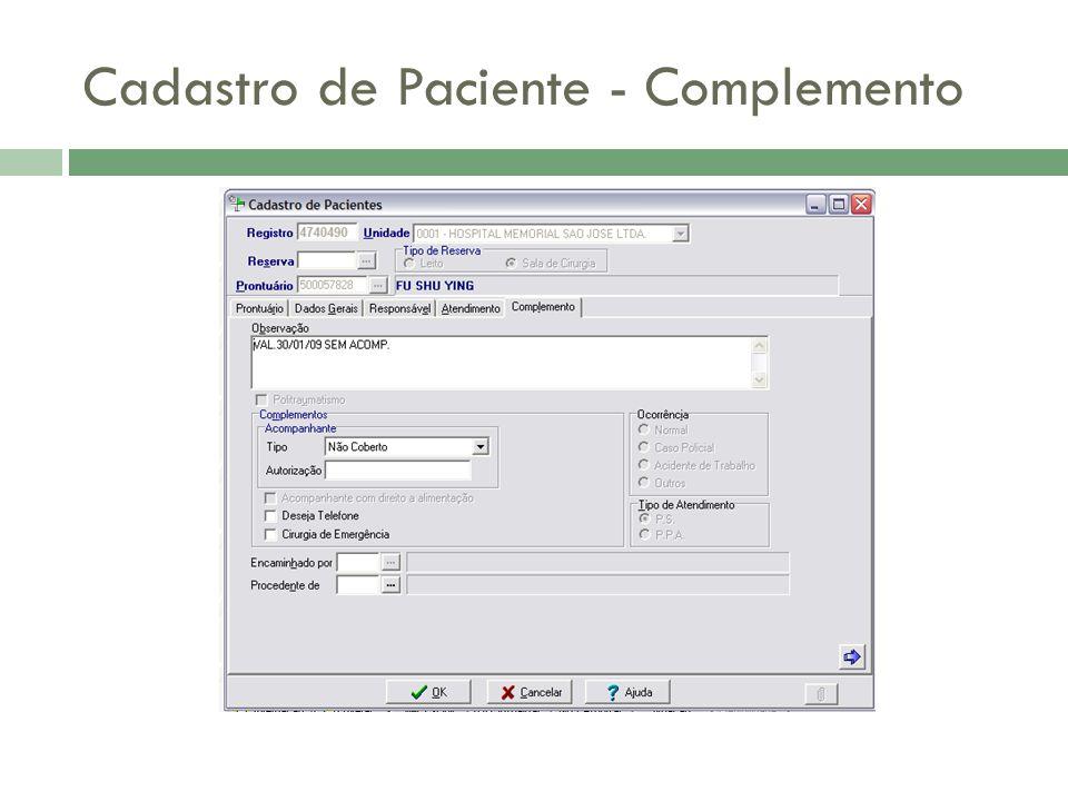 Cadastro de Paciente - Complemento
