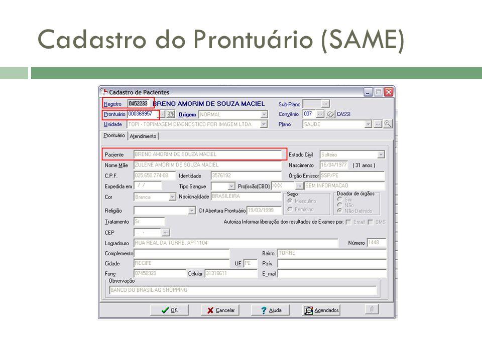 Cadastro do Prontuário (SAME)
