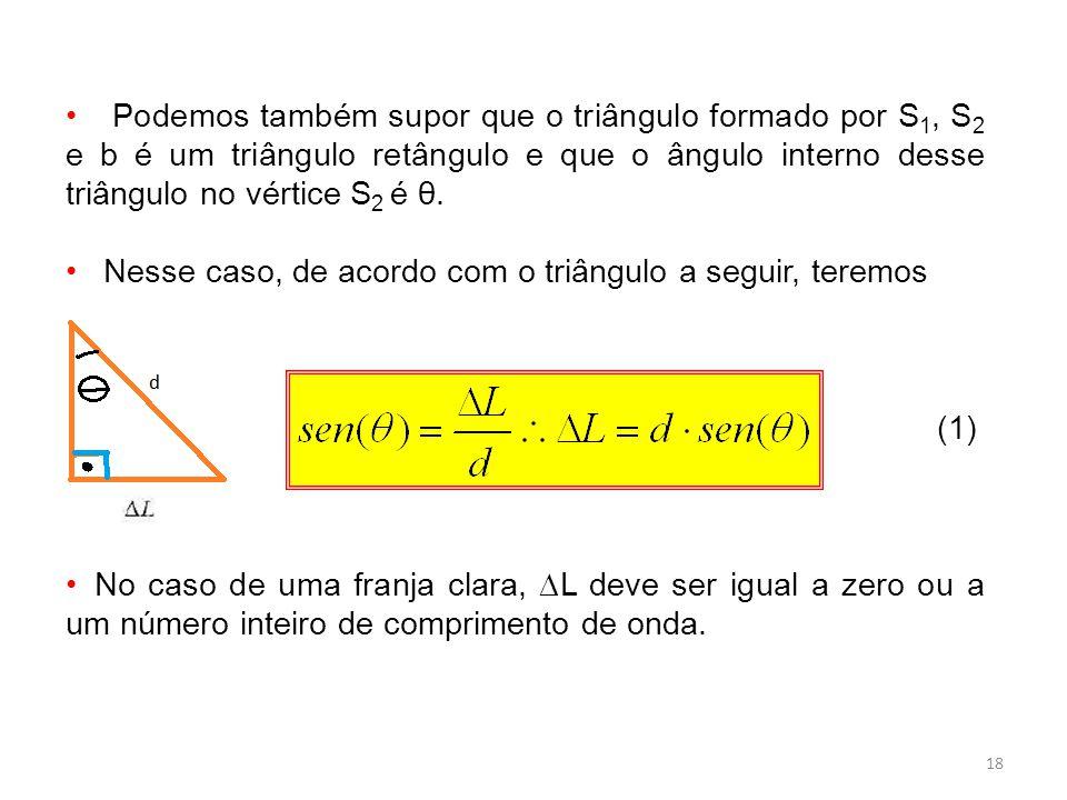 Podemos também supor que o triângulo formado por S1, S2 e b é um triângulo retângulo e que o ângulo interno desse triângulo no vértice S2 é θ.
