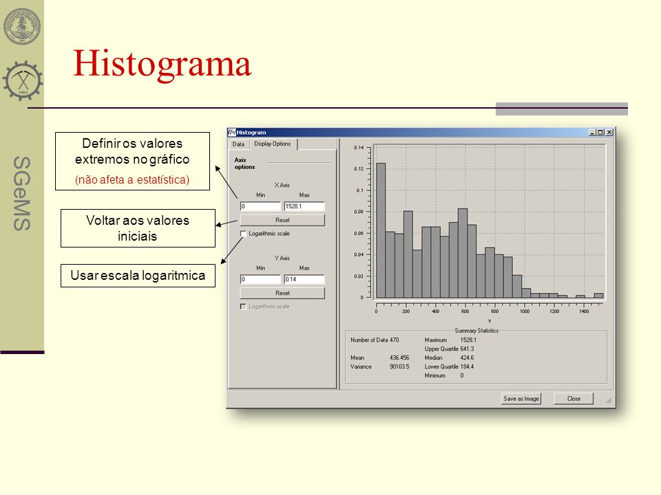 Histograma Definir os valores extremos no gráfico