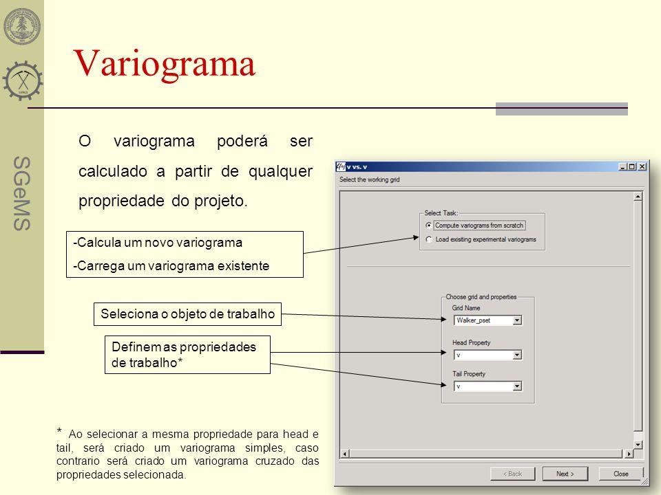 Variograma O variograma poderá ser calculado a partir de qualquer propriedade do projeto. -Calcula um novo variograma.