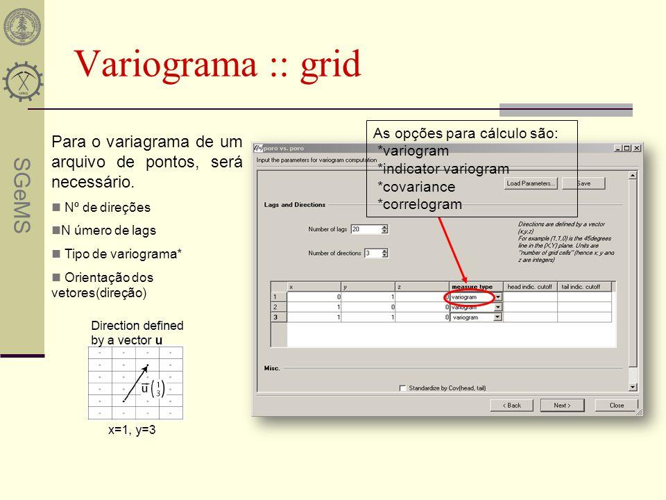 Variograma :: grid As opções para cálculo são: *variogram. *indicator variogram. *covariance. *correlogram.