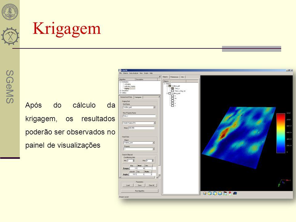 Krigagem Após do cálculo da krigagem, os resultados poderão ser observados no painel de visualizações.