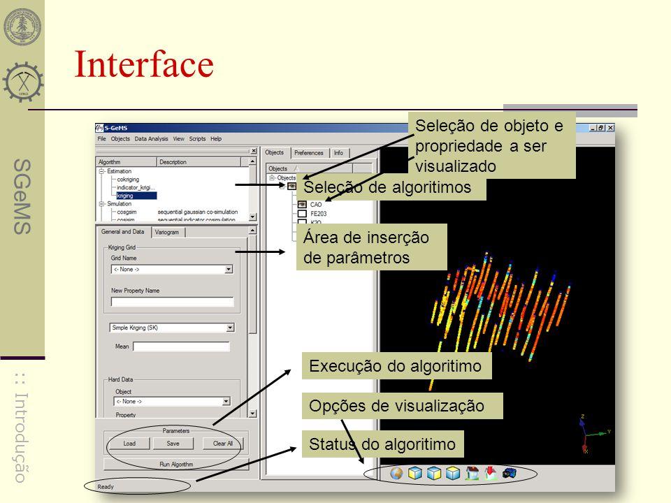 Interface Seleção de objeto e propriedade a ser visualizado
