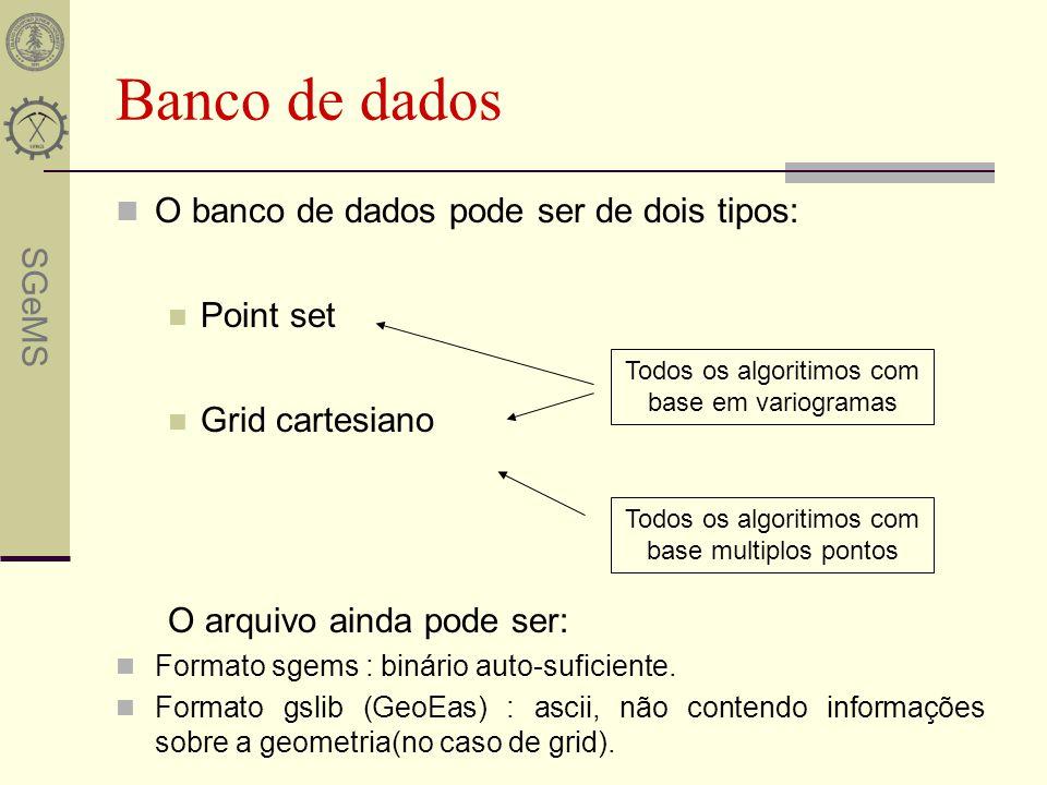 Banco de dados O banco de dados pode ser de dois tipos: Point set