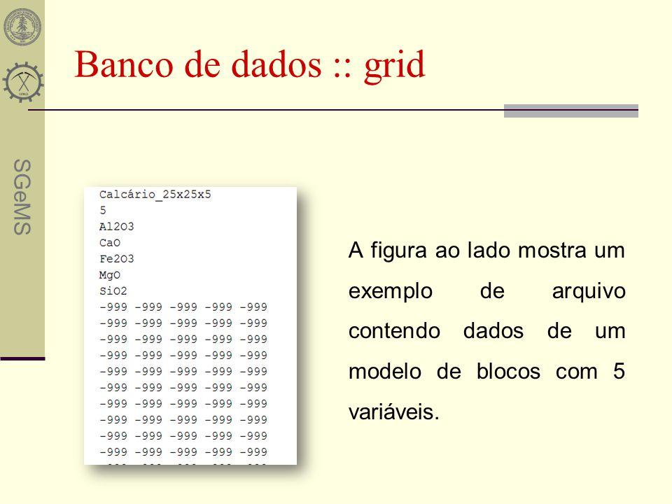 Banco de dados :: grid A figura ao lado mostra um exemplo de arquivo contendo dados de um modelo de blocos com 5 variáveis.