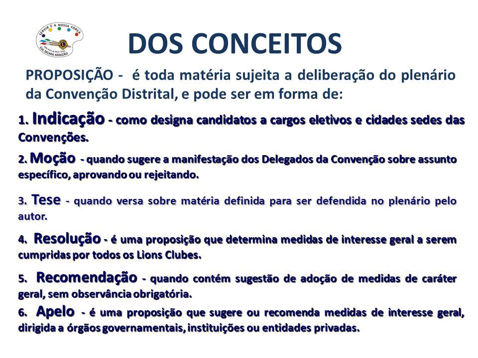 DOS CONCEITOS PROPOSIÇÃO - é toda matéria sujeita a deliberação do plenário da Convenção Distrital, e pode ser em forma de: