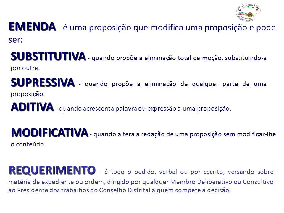 EMENDA - é uma proposição que modifica uma proposição e pode ser: