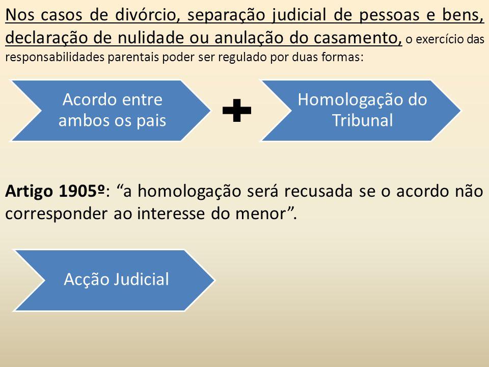 Acordo entre ambos os pais Homologação do Tribunal