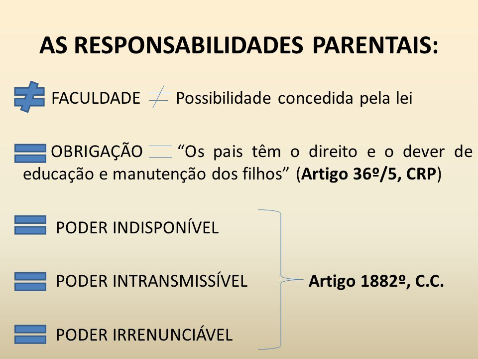AS RESPONSABILIDADES PARENTAIS: