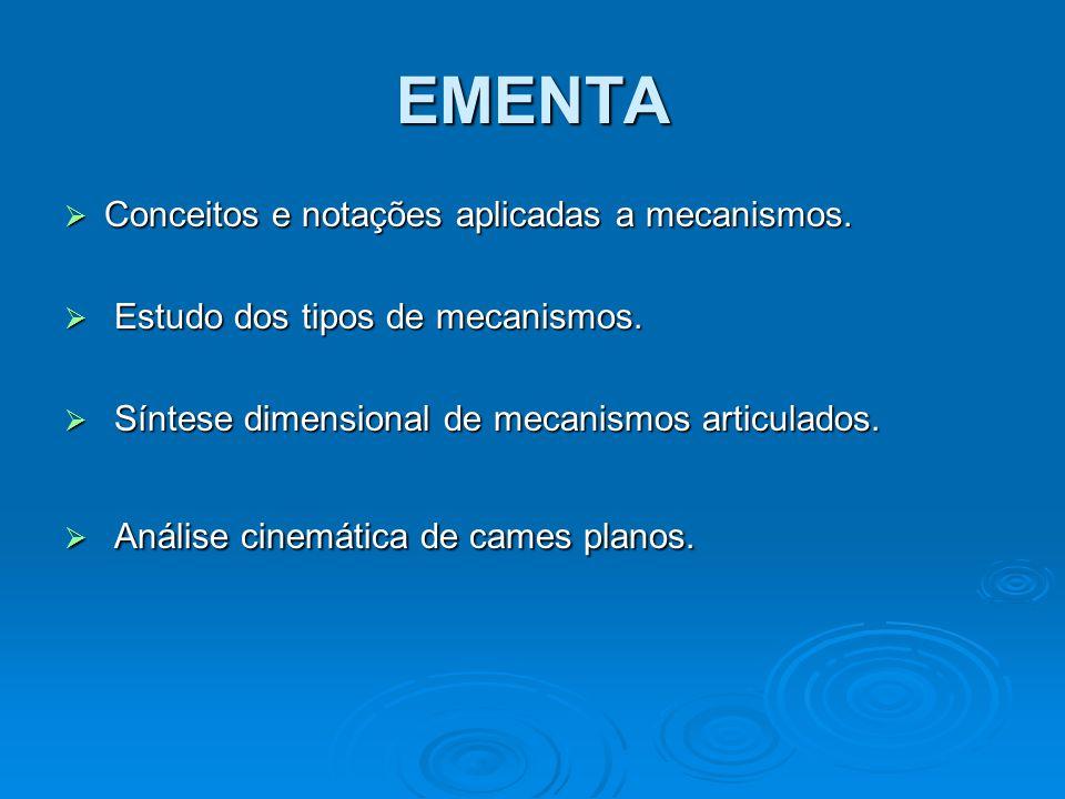 EMENTA Conceitos e notações aplicadas a mecanismos.