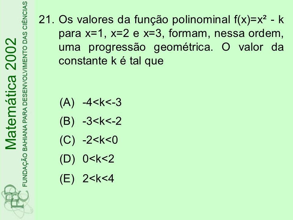 Os valores da função polinominal f(x)=x² - k para x=1, x=2 e x=3, formam, nessa ordem, uma progressão geométrica. O valor da constante k é tal que