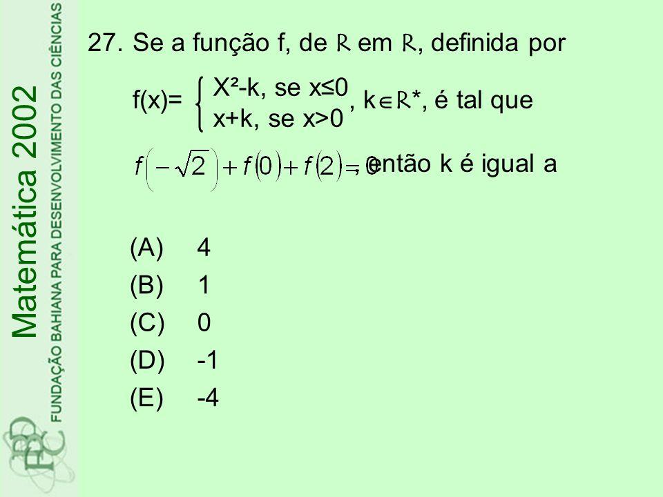 Se a função f, de R em R, definida por f(x)= , kR