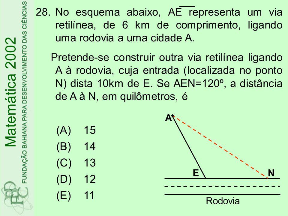 Matemática 2002 (A) 15 (B) 14 (C) 13 (D) 12 (E) 11
