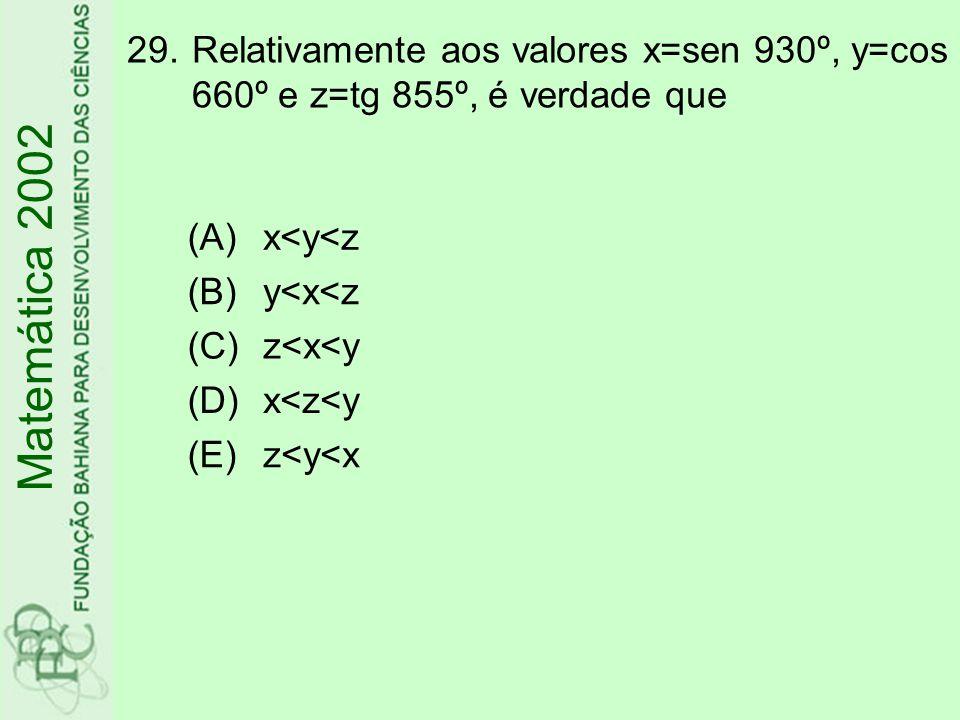 Relativamente aos valores x=sen 930º, y=cos 660º e z=tg 855º, é verdade que