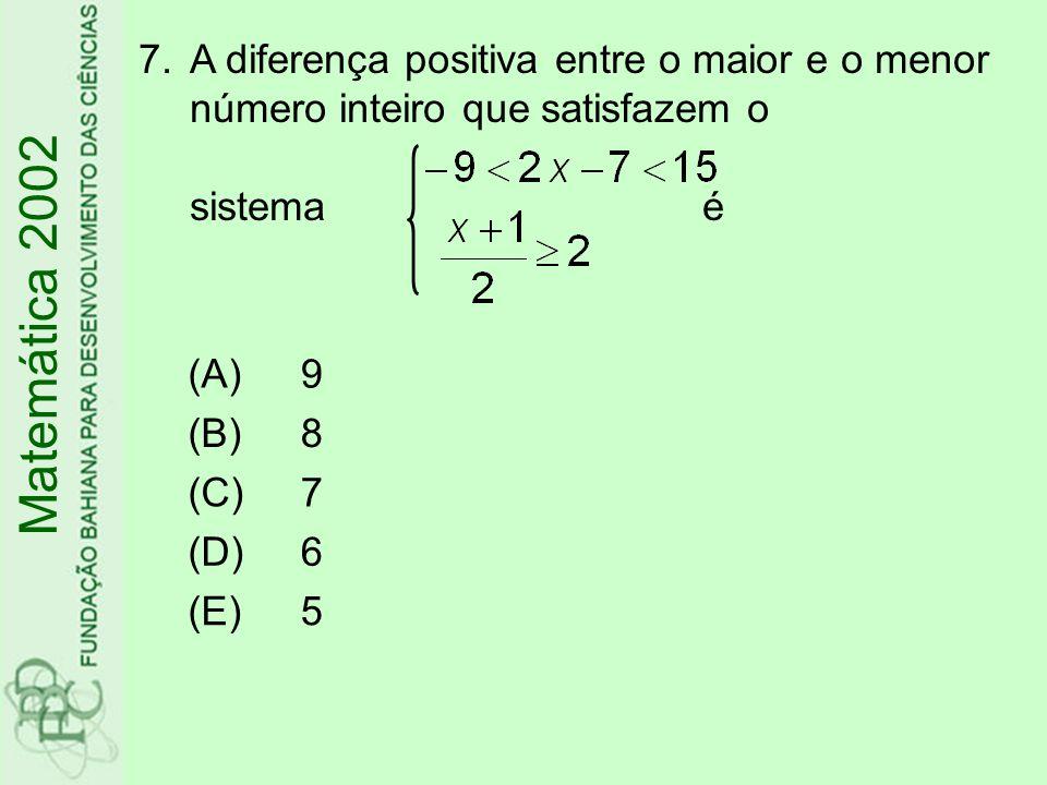 A diferença positiva entre o maior e o menor número inteiro que satisfazem o sistema é