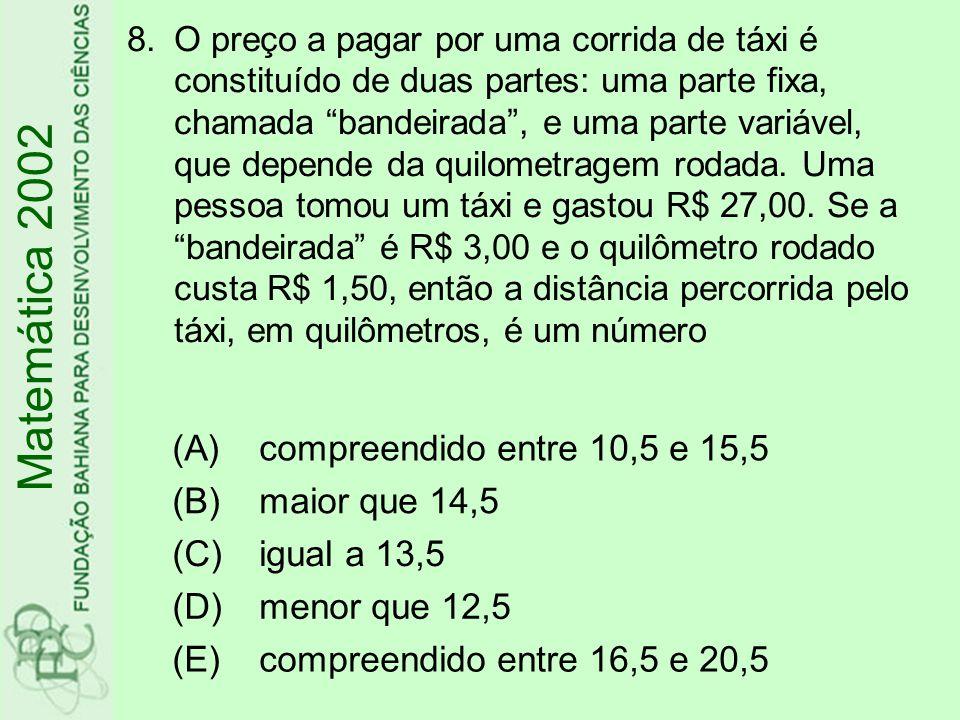 Matemática 2002 (A) compreendido entre 10,5 e 15,5 (B) maior que 14,5