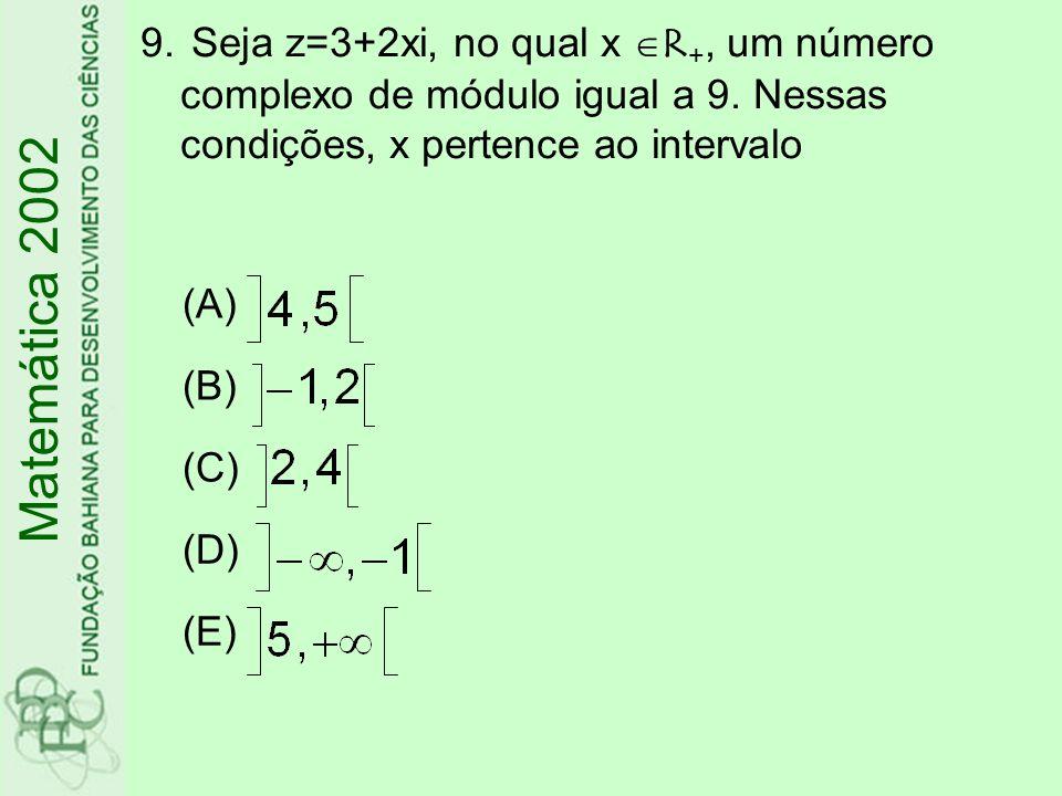Seja z=3+2xi, no qual x R+, um número complexo de módulo igual a 9