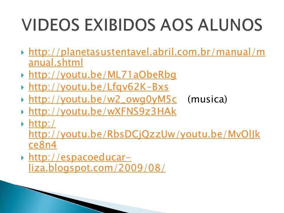VIDEOS EXIBIDOS AOS ALUNOS
