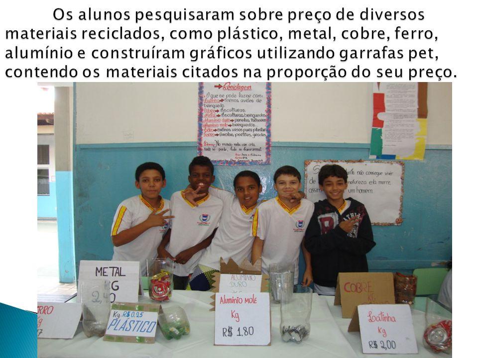 Os alunos pesquisaram sobre preço de diversos materiais reciclados, como plástico, metal, cobre, ferro, alumínio e construíram gráficos utilizando garrafas pet, contendo os materiais citados na proporção do seu preço.