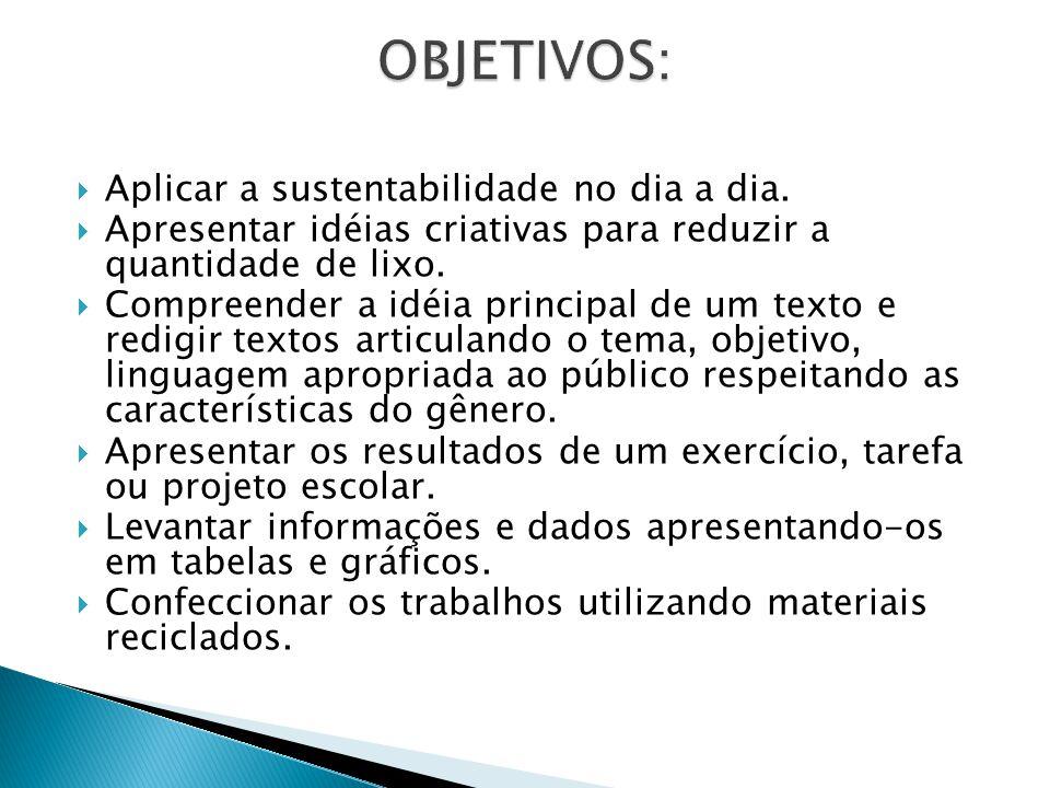 OBJETIVOS: Aplicar a sustentabilidade no dia a dia.