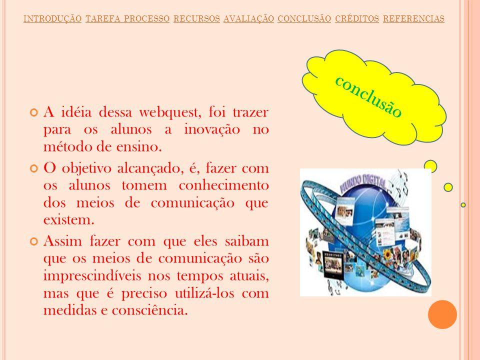 INTRODUÇÃO TAREFA PROCESSO RECURSOS AVALIAÇÃO CONCLUSÃO CRÉDITOS REFERENCIAS