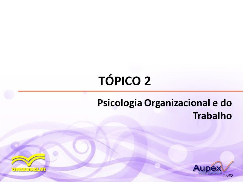 TÓPICO 2 Psicologia Organizacional e do Trabalho 23/88