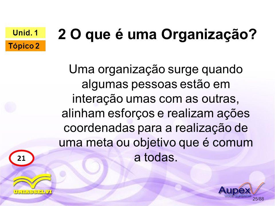2 O que é uma Organização Unid. 1. Tópico 2.