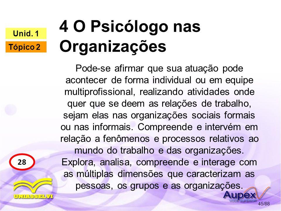 4 O Psicólogo nas Organizações