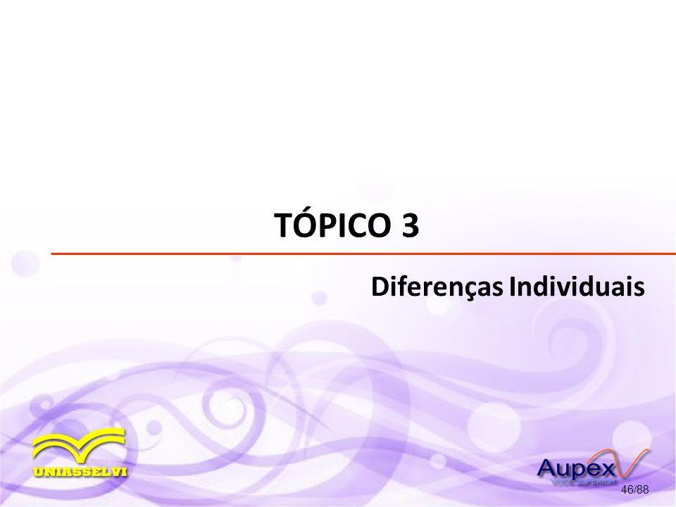 TÓPICO 3 Diferenças Individuais 46/88