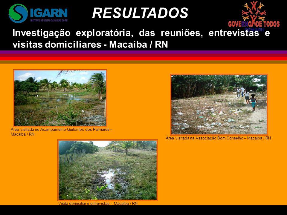 RESULTADOS Investigação exploratória, das reuniões, entrevistas e visitas domiciliares - Macaiba / RN.