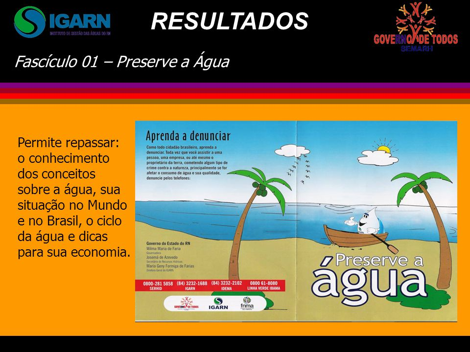RESULTADOS Fascículo 01 – Preserve a Água