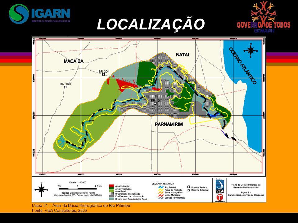 LOCALIZAÇÃO Mapa 01 – Área da Bacia Hidrográfica do Rio Pitimbu