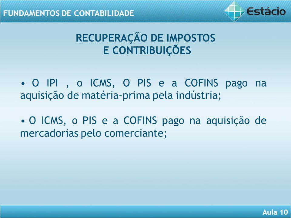 RECUPERAÇÃO DE IMPOSTOS