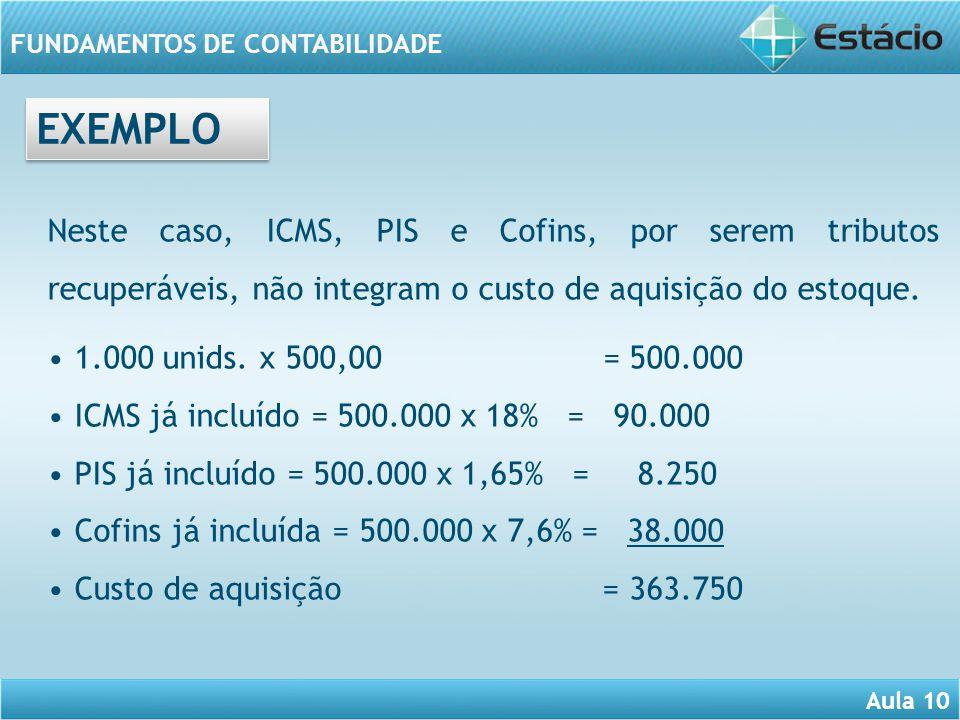 EXEMPLO Neste caso, ICMS, PIS e Cofins, por serem tributos recuperáveis, não integram o custo de aquisição do estoque.