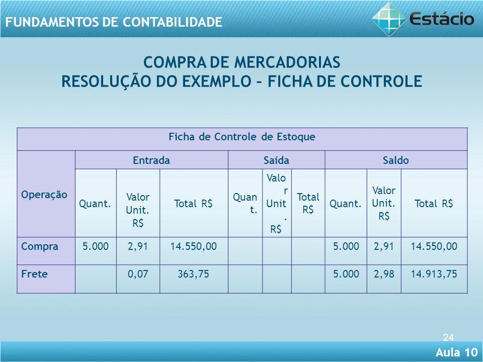 RESOLUÇÃO DO EXEMPLO – FICHA DE CONTROLE Ficha de Controle de Estoque
