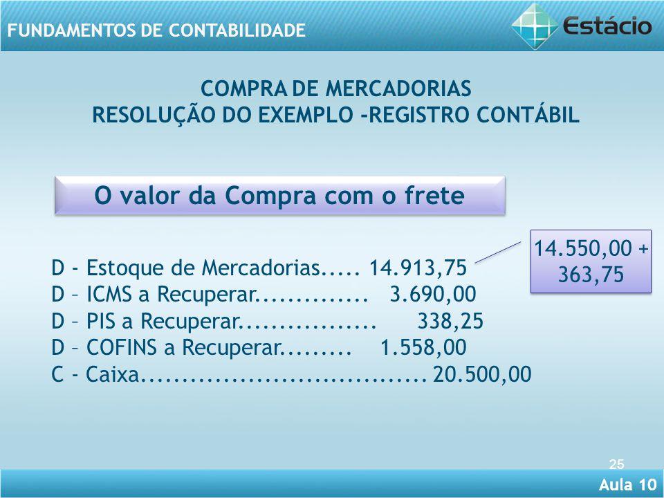 RESOLUÇÃO DO EXEMPLO -REGISTRO CONTÁBIL O valor da Compra com o frete