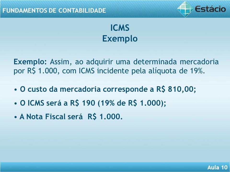 ICMS Exemplo. Exemplo: Assim, ao adquirir uma determinada mercadoria por R$ 1.000, com ICMS incidente pela alíquota de 19%.