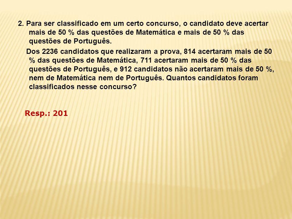 2. Para ser classificado em um certo concurso, o candidato deve acertar mais de 50 % das questões de Matemática e mais de 50 % das questões de Português. Dos 2236 candidatos que realizaram a prova, 814 acertaram mais de 50 % das questões de Matemática, 711 acertaram mais de 50 % das questões de Português, e 912 candidatos não acertaram mais de 50 %, nem de Matemática nem de Português. Quantos candidatos foram classificados nesse concurso