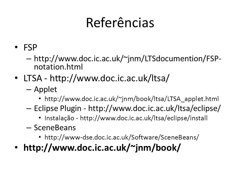 Referências FSP LTSA - http://www.doc.ic.ac.uk/ltsa/