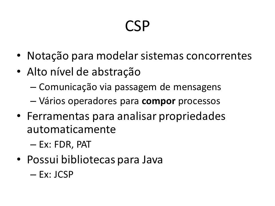 CSP Notação para modelar sistemas concorrentes Alto nível de abstração