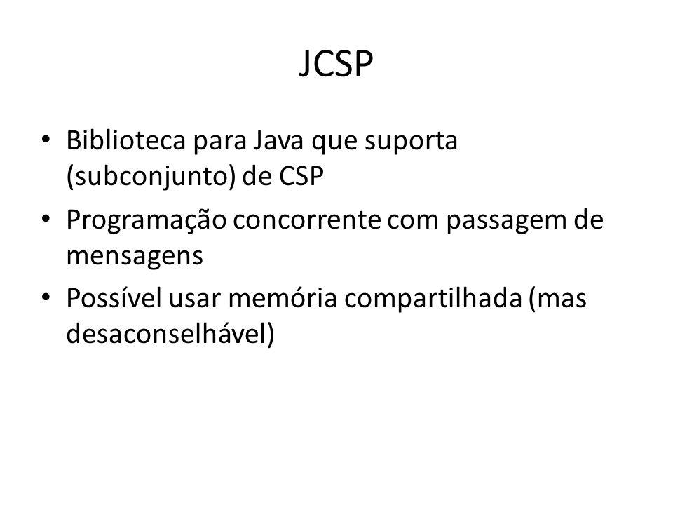 JCSP Biblioteca para Java que suporta (subconjunto) de CSP