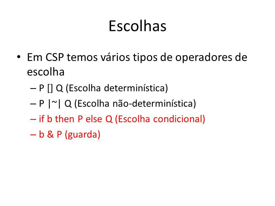 Escolhas Em CSP temos vários tipos de operadores de escolha