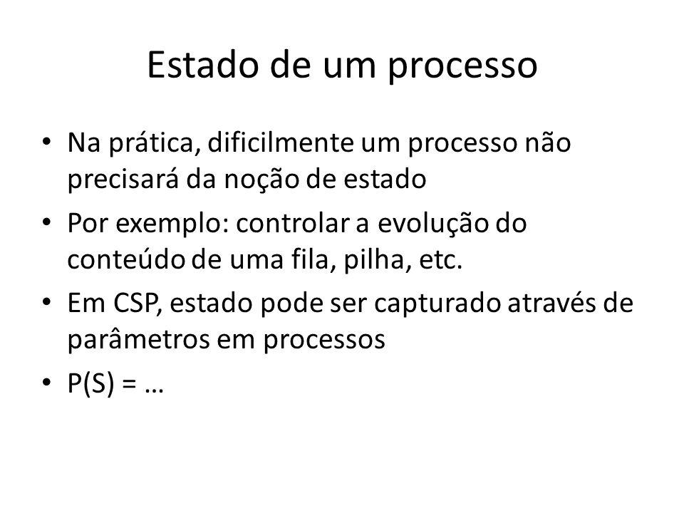 Estado de um processo Na prática, dificilmente um processo não precisará da noção de estado.