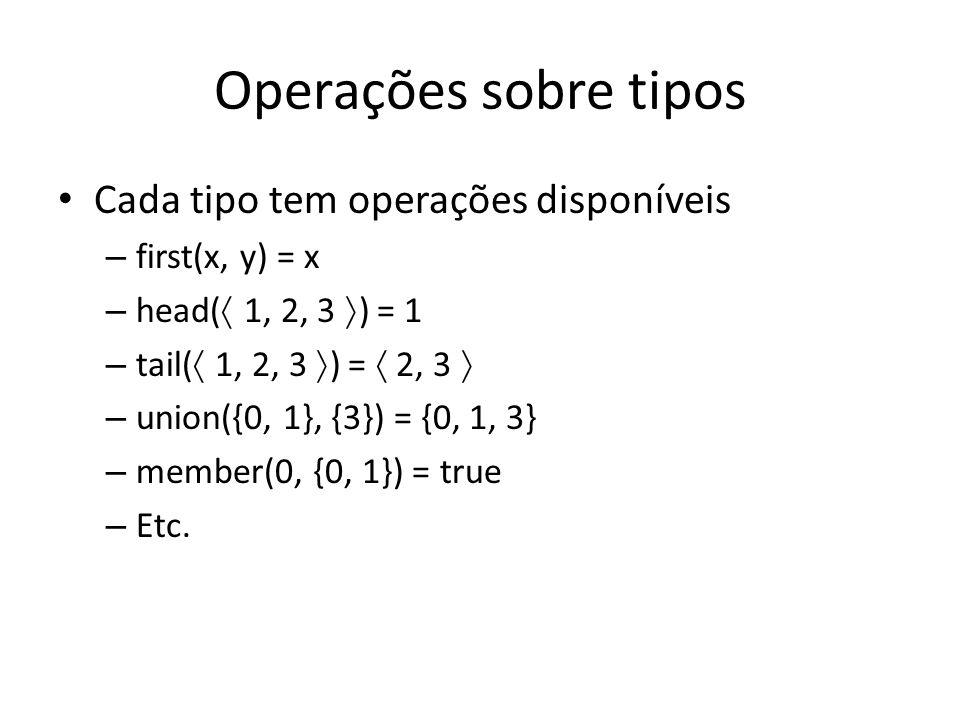 Operações sobre tipos Cada tipo tem operações disponíveis
